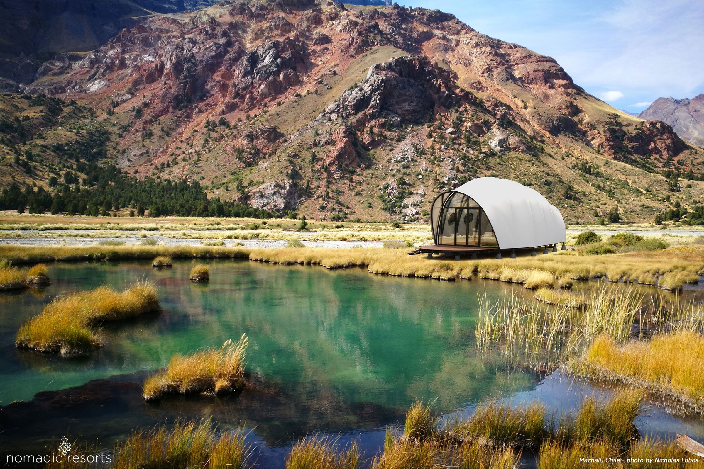 looper cocoon tent pod in machali chile