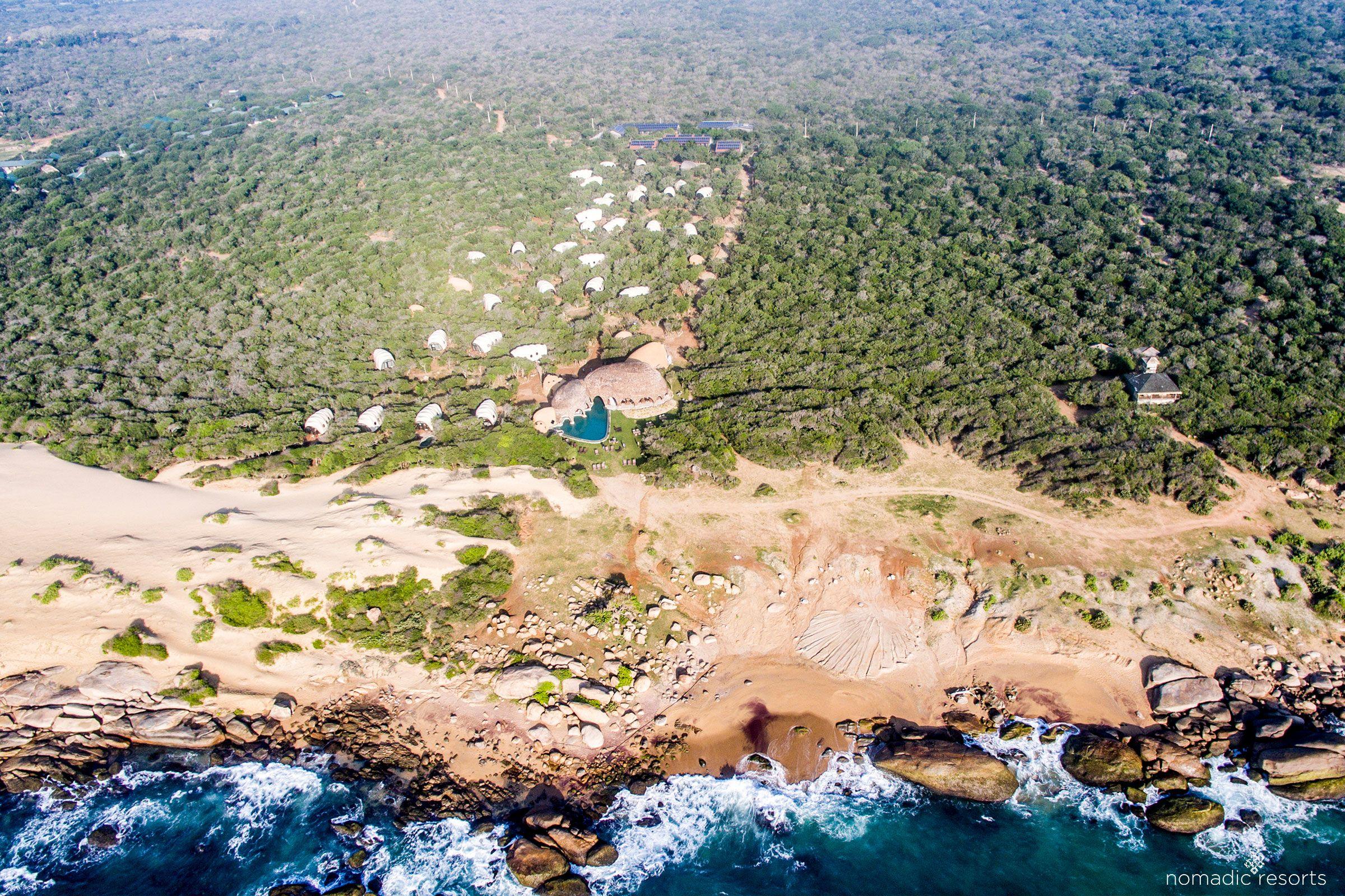 aerial image of wild coast tented lodge, yala national park, sri lanka