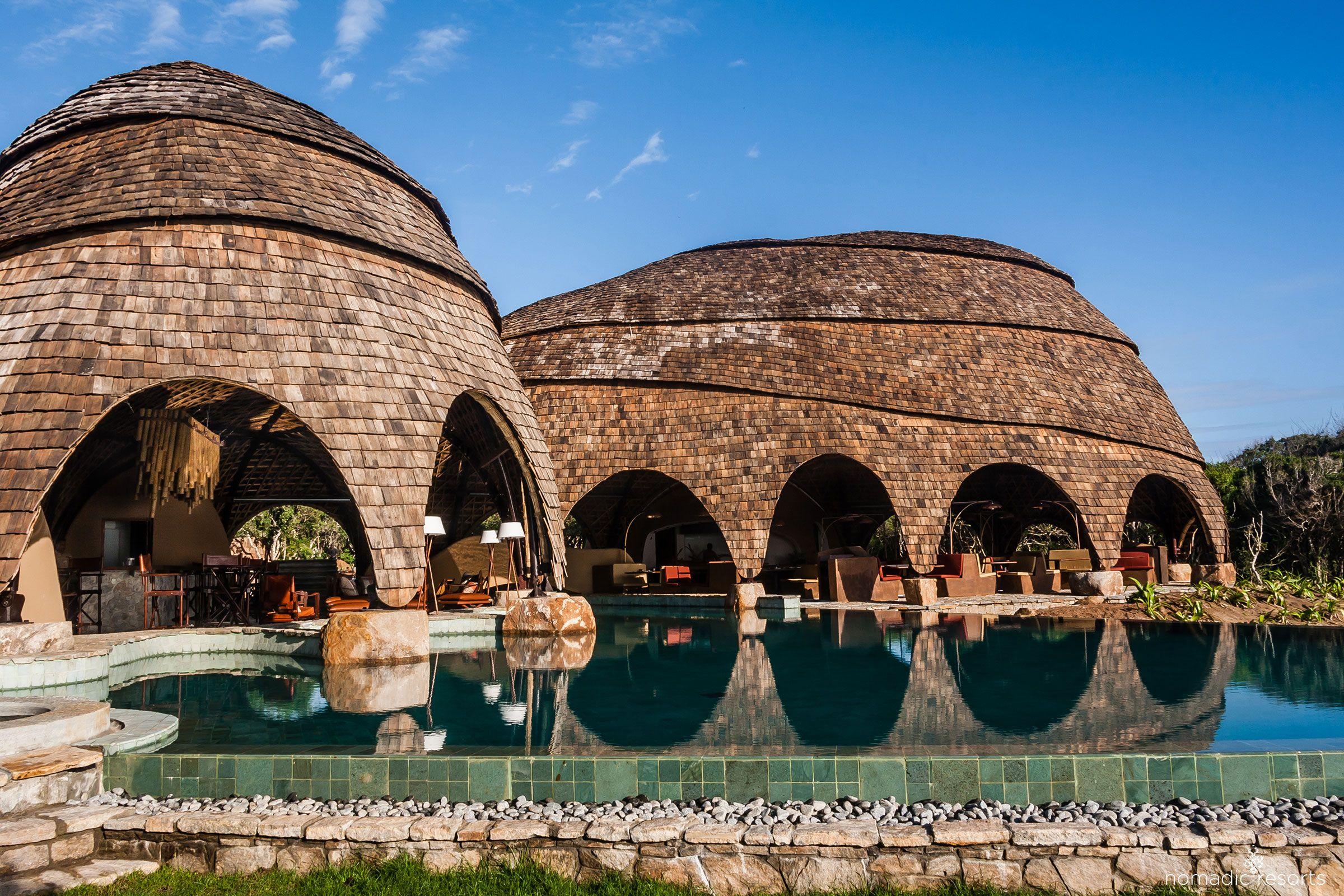 wild coast tented lodge, bar restaurant and pool exterior, yala national park, sri lanka