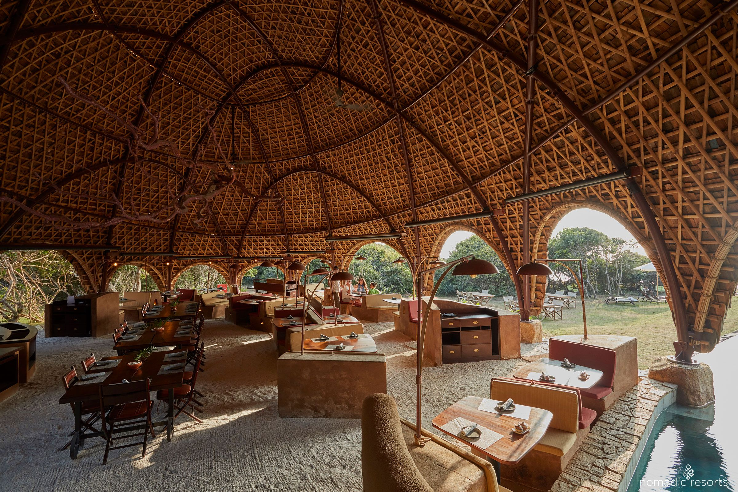 restaurant interior of wild coast tented lodge, yala national park, sri lanka