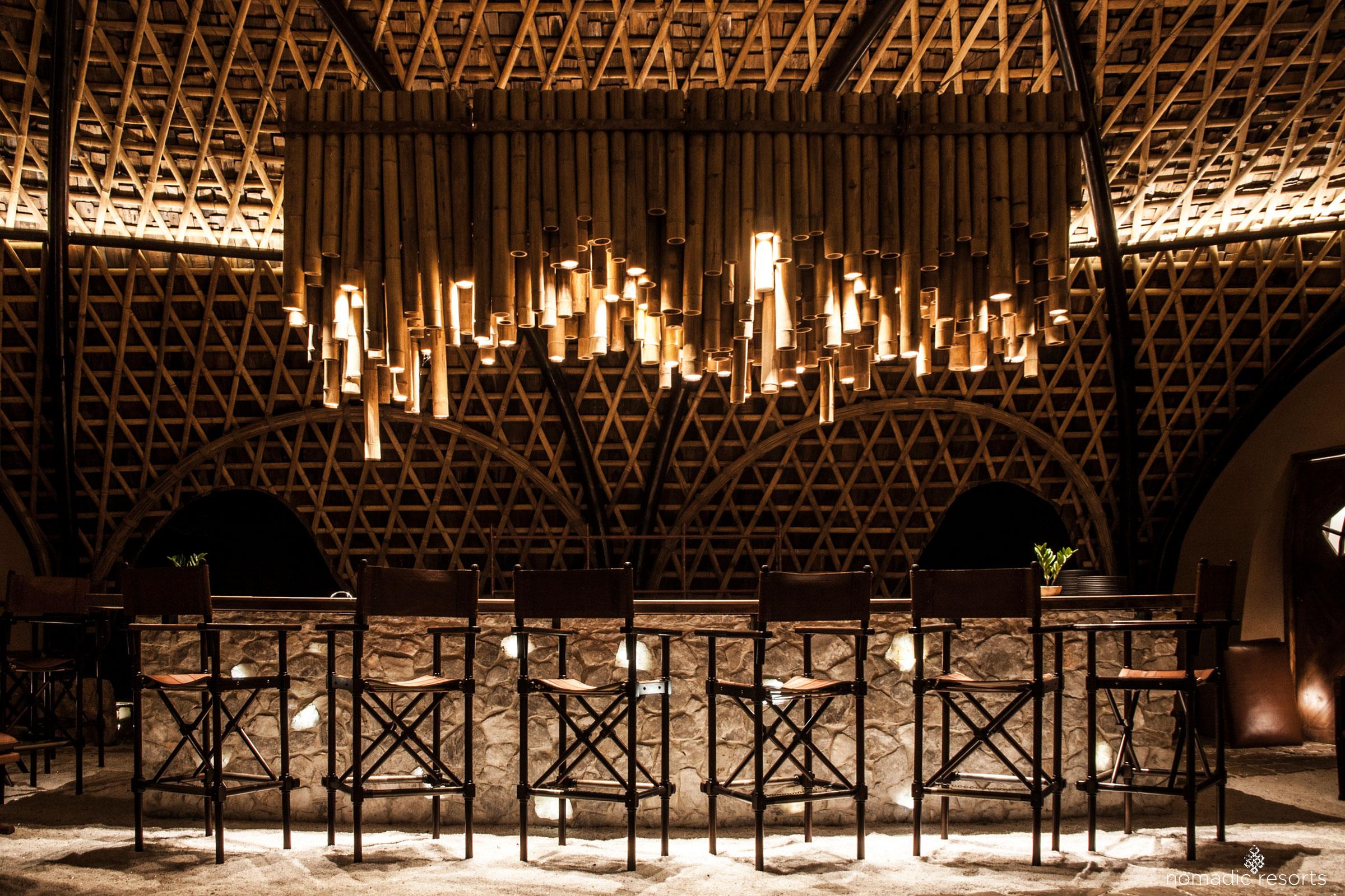 bar interior of wild coast tented lodge, yala national park, sri lanka