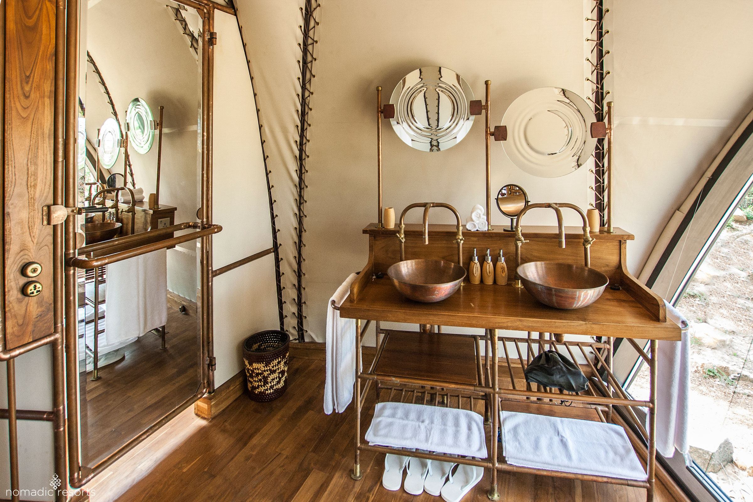 Cocoon suite bathroom at Wild Coast Tented Lodge, Sri Lanka