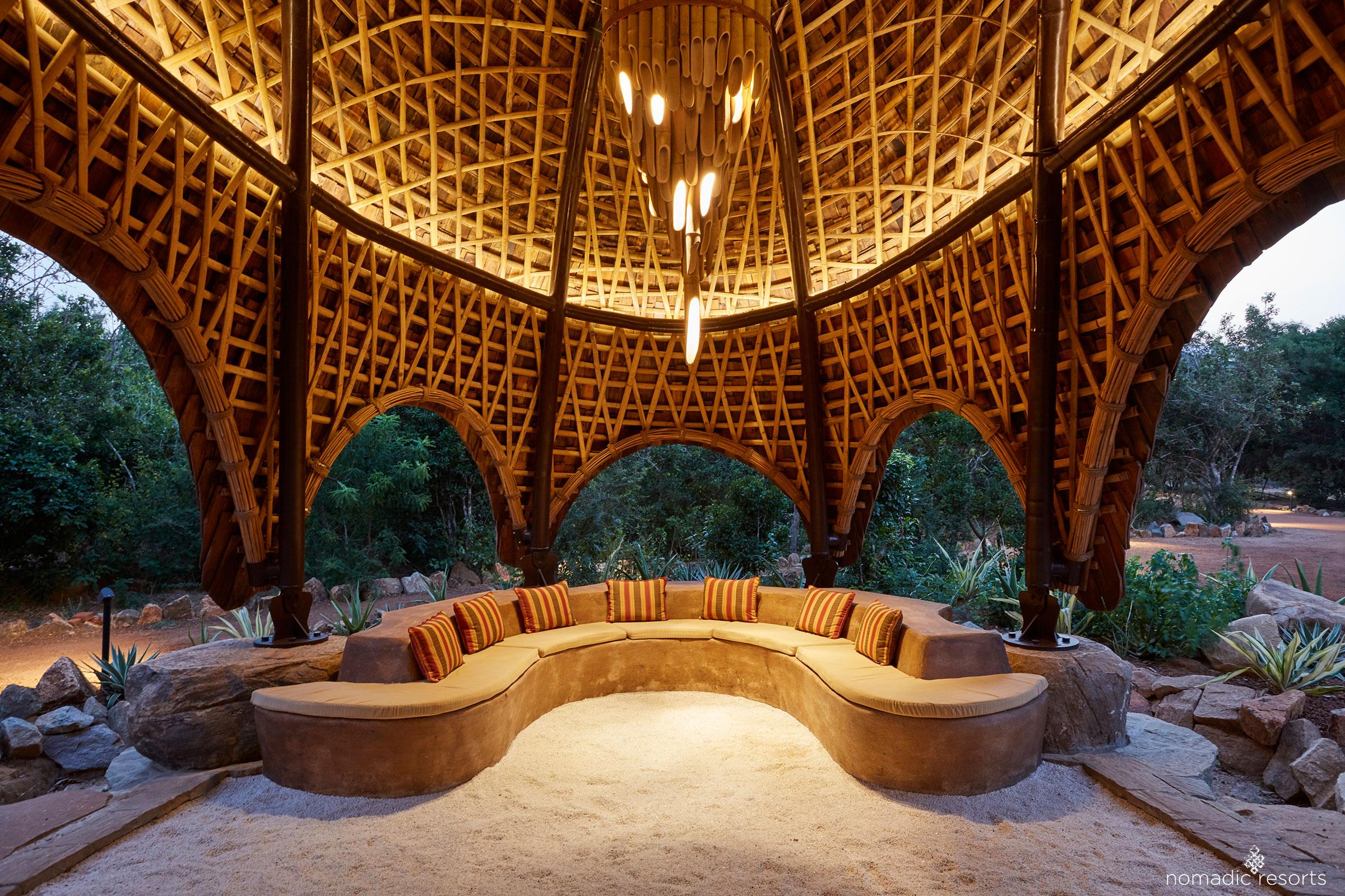 welcome area interior of wild coast tented lodge, yala national park, sri lanka