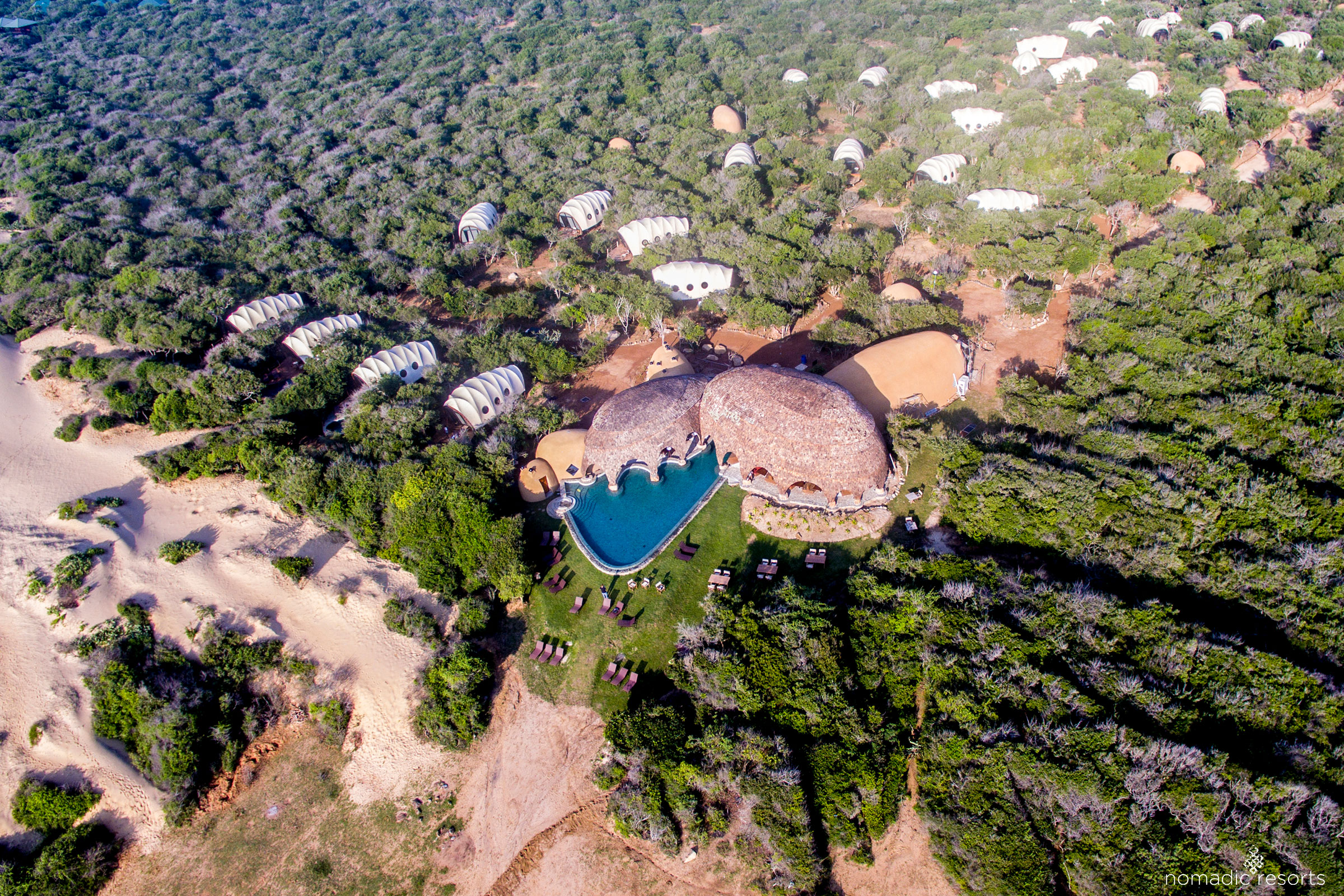 aerial image of wild coast tented lodge, yala national park, sri lanka