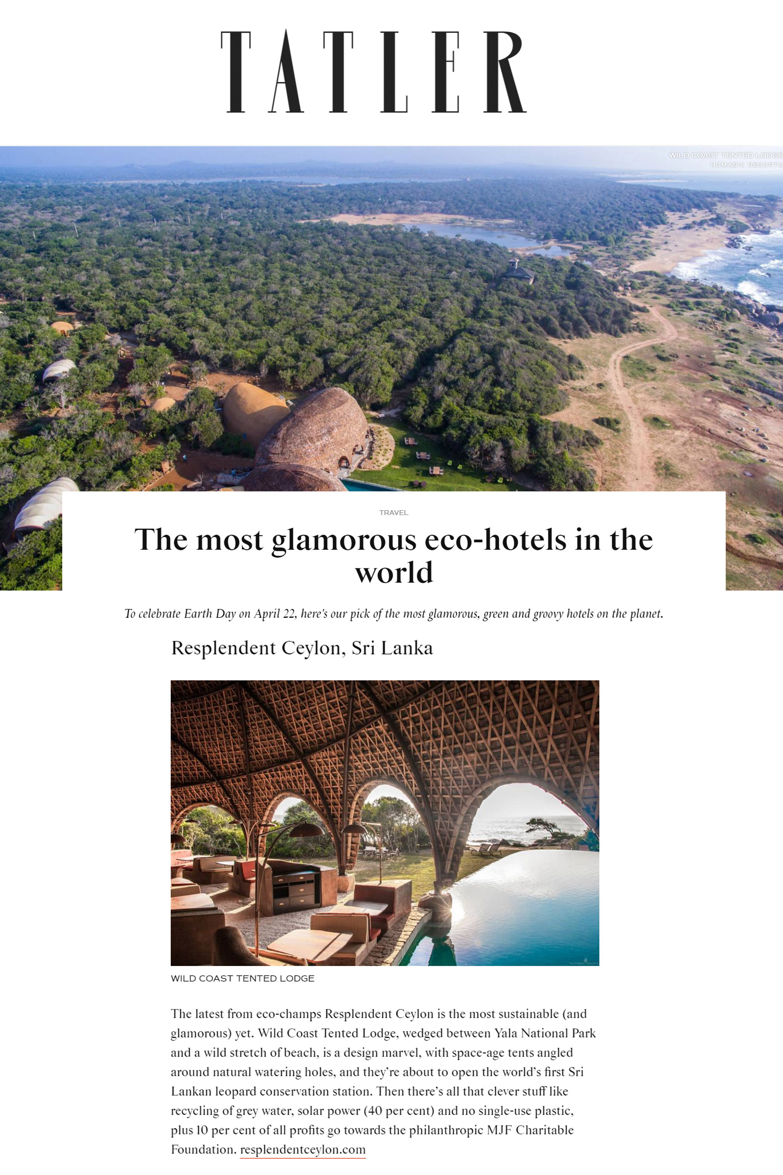 wild coast tented lodge among tatler's most glamorous eco hotels in the world