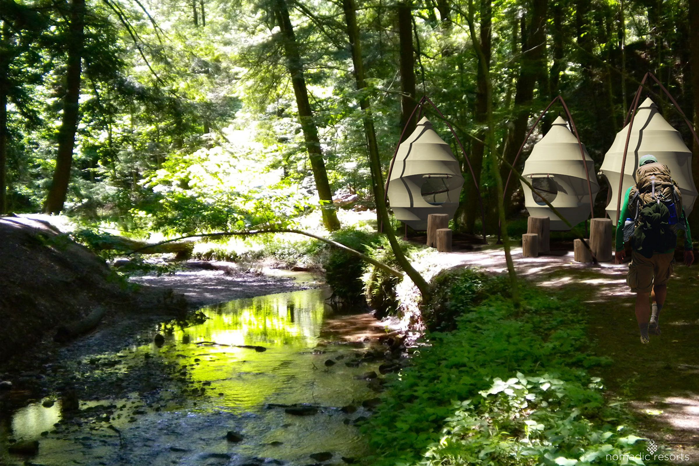 luxury pod, suspended pod, treehouse, seedpod, glamping pod